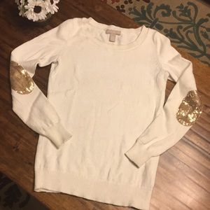 Banana Republic Sweater w Sequin Gld ELbow Patches